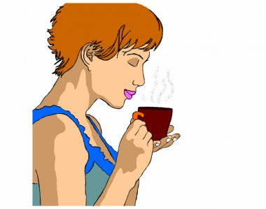 Woman with cup of tea on a white background
