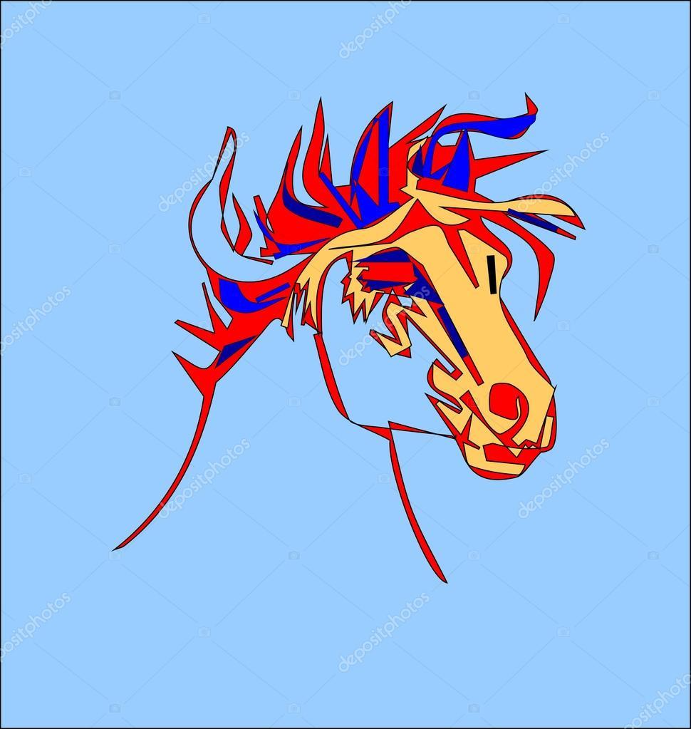 Testa Di Cavallo Stilizzato Su Sfondo Bianco Vettoriali
