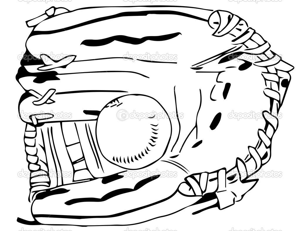 guante de béisbol con balón blanco y negro — Vector de stock ...