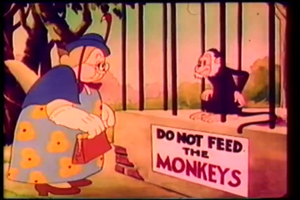 Cartoon of a caged monkey reprimanding woman for feeding him