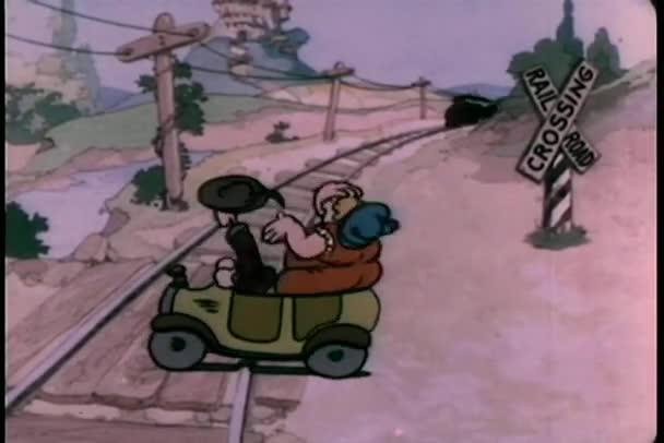 vonat, szinte üti az autó, a vasúti kereszteződés
