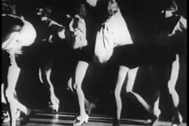 Group of female dancers tap dancing