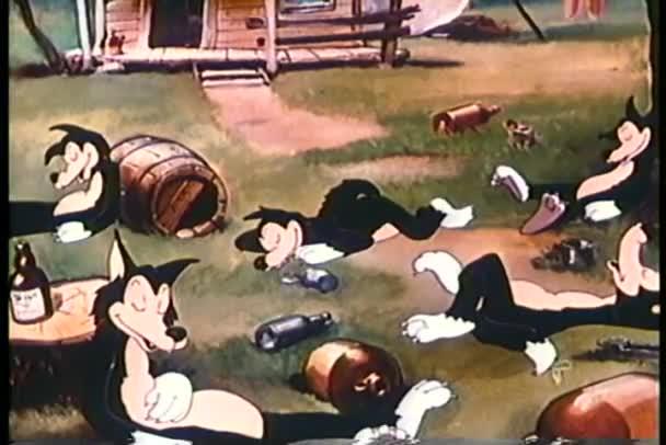 kreslený vlci opilého zdřímnout