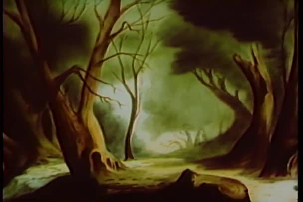 cartone animato di un bosco