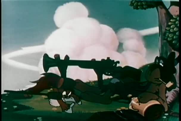 Wide shot dog loading a gun