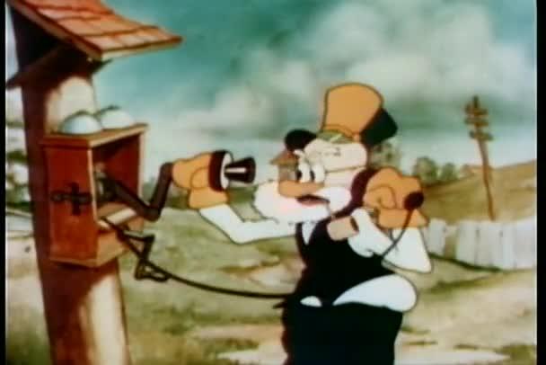 cartone animato di un vecchio argomentando sul telefono