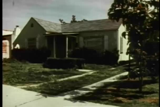 Wide shot of suburban house exterior