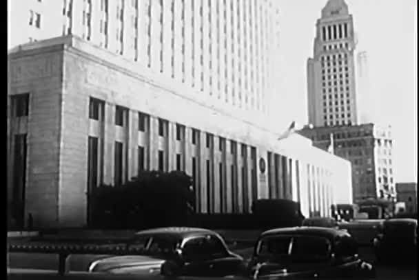 View of courthouse with parking lot in front at Los Angeles, California, USA