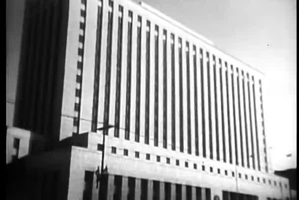 pohled na budovu poštovního úřadu a loga v los angeles, Kalifornie, usa