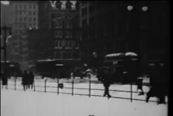 široký záběr z new Yorku na ulici, v zimě