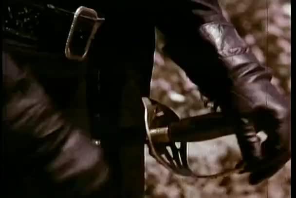Nahaufnahme behandschuhte Hand zückt Schwert