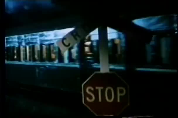 Train passing through a railroad crossing at night