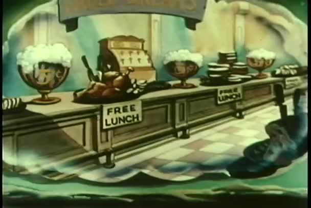 Wide shot free lunch buffet