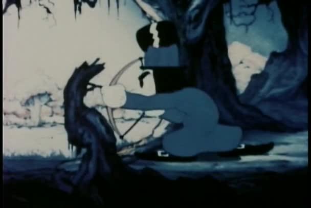 Muž v cylindru, střelba z druhého muže  s Kulich s lukem a šípem