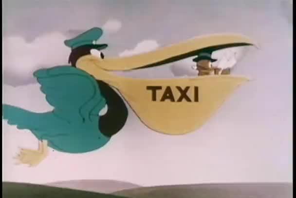 kreslený létajících Pelikán taxi