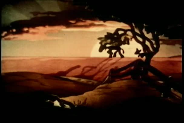 kreslený dva osli přede zapadajícího slunce