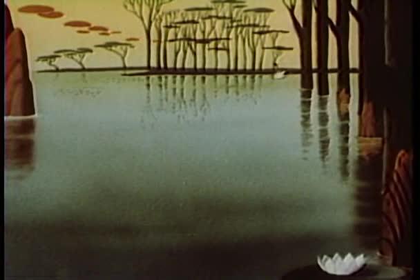 kreslený labutě plavání přes jezero