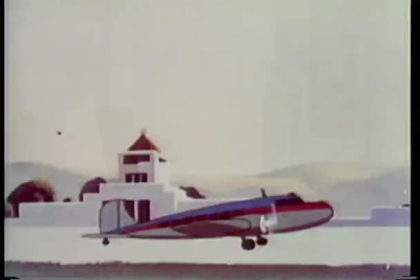 Cartone animato di un aeroplano elica decollando u2014 video stock