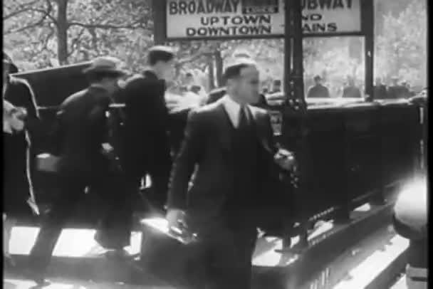 rušné new york city Metro vchod, třicátých let
