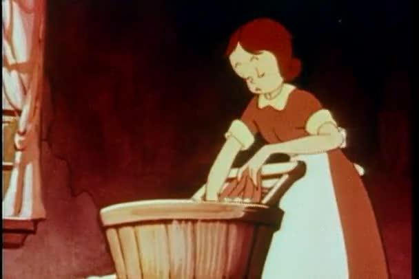 Karikatur einer Frau, die Kleidung von Hand wäscht