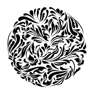 Monochrome black and white lace ornament vector