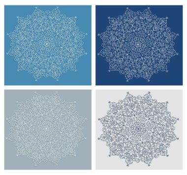 Set of vintage snowflake on blue background vector