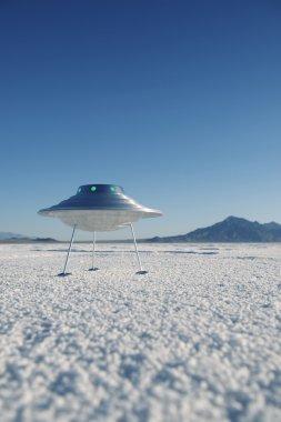 Silver Metal Flying Saucer UFO Harsh White Desert Planet Landscape