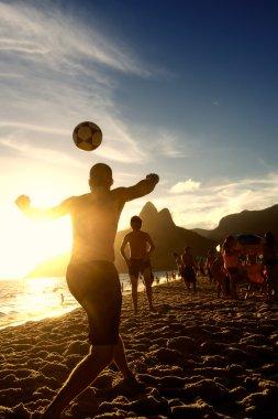 Brazilians Playing Altinho Keepy Uppy Futebol Beach Soccer Football
