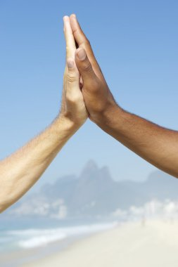 Brazilian Diversity Interracial High Five Hands Together Rio Brazil