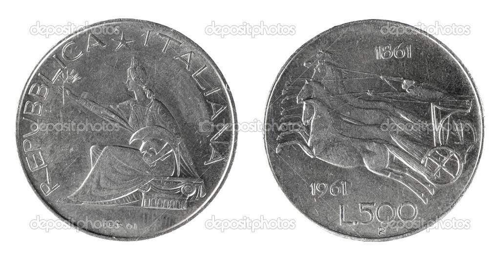 Coins Italy 500 Lire 1861 1961 Stock Photo Sementer 48156933