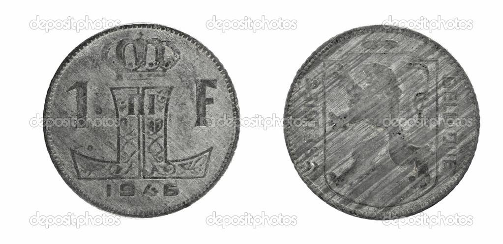 Alte Münzen Belgien 1 Franken Stockfoto Sementer 48157013