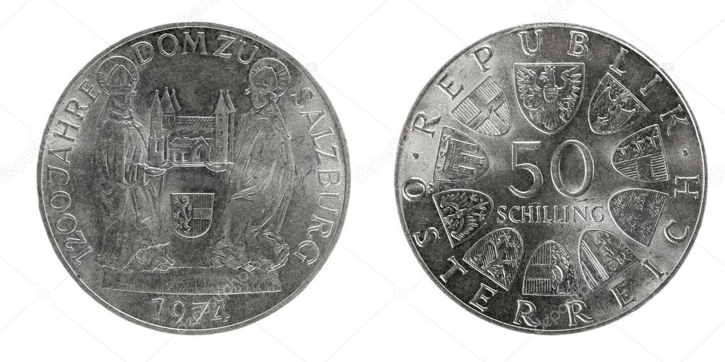Silber Münzen österreich 50 Schilling Stockfoto Sementer 48157041