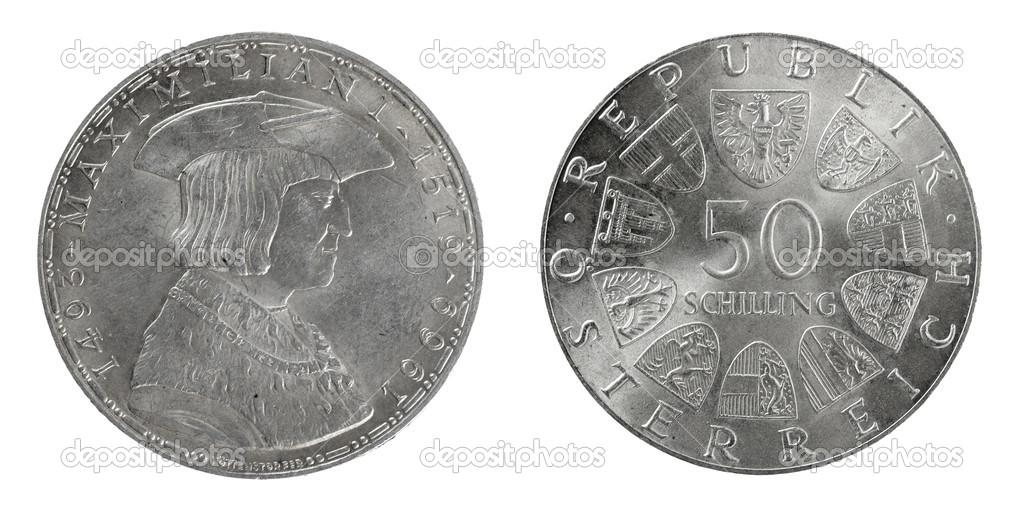 Silber Münzen österreich 50 Schilling Stockfoto Sementer 48157079