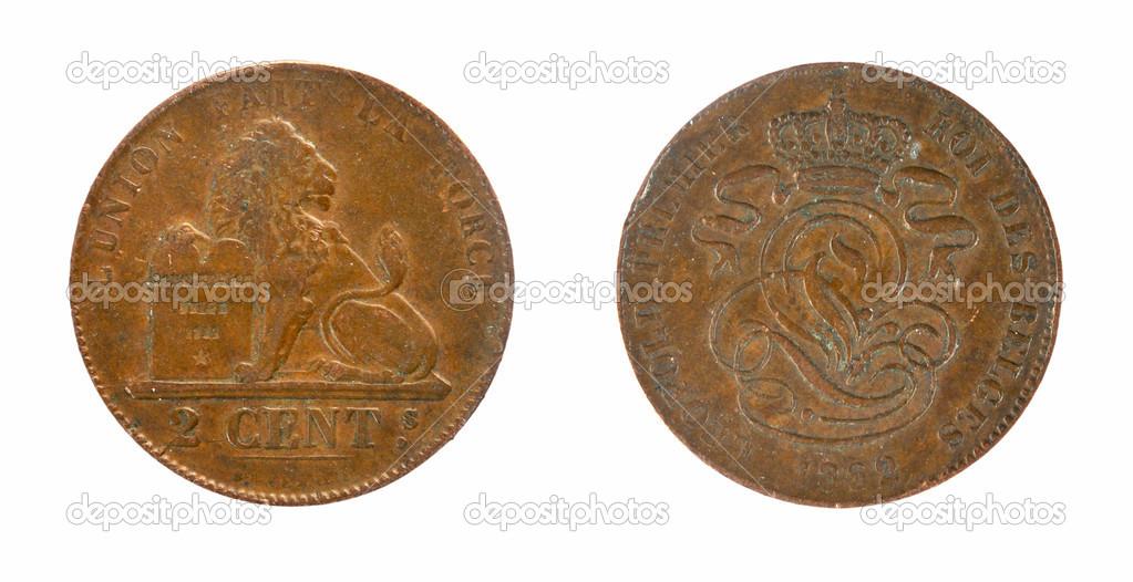 Alte Belgien 2 Cent Münzen Stockfoto Sementer 48157093
