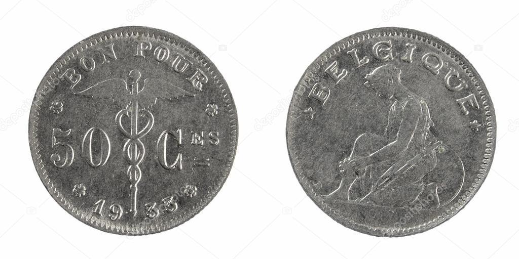 Alte Münzen Belgien 1 Franken Stockfoto Sementer 48157311