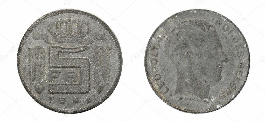 Alte Münzen Belgien 5 Franken Stockfoto Sementer 48157459