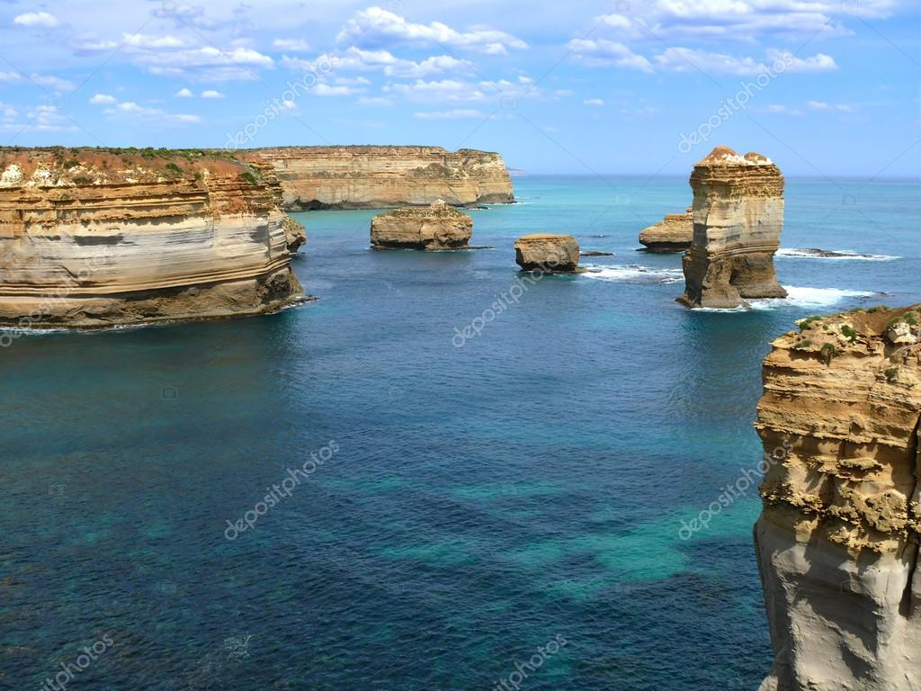 The Seaside with rocky formation. Great Ocean Road, Australia, Victoria, National park.