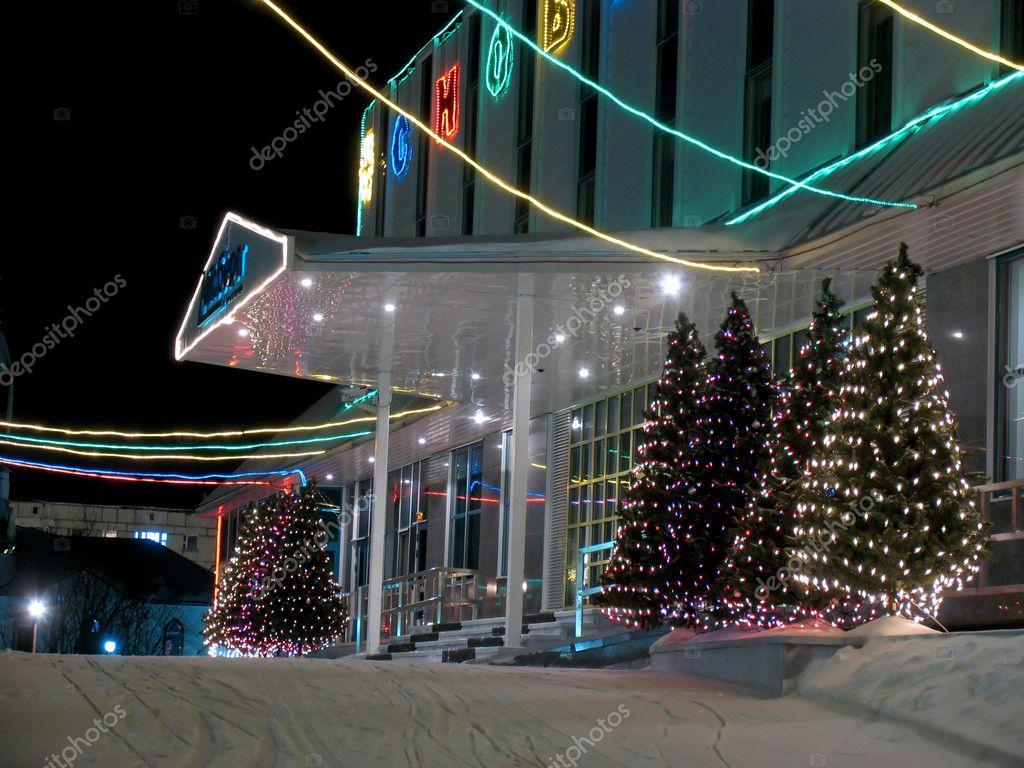 Decorazioni Ufficio Natale : Portico ufficio edificio close up anno nuovo decorazioni di