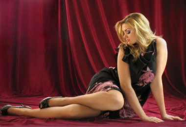 Graceful beautiful blonde in a dress. Studio photography.