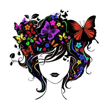 Figure. Feminine silhouette. Women's hairstyles.
