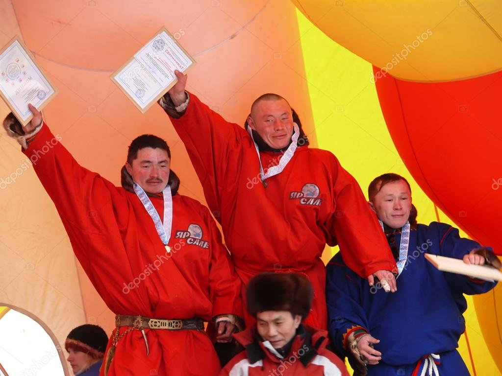 Nadym, Russia - March 16, 2008: The ceremony of awarding the win