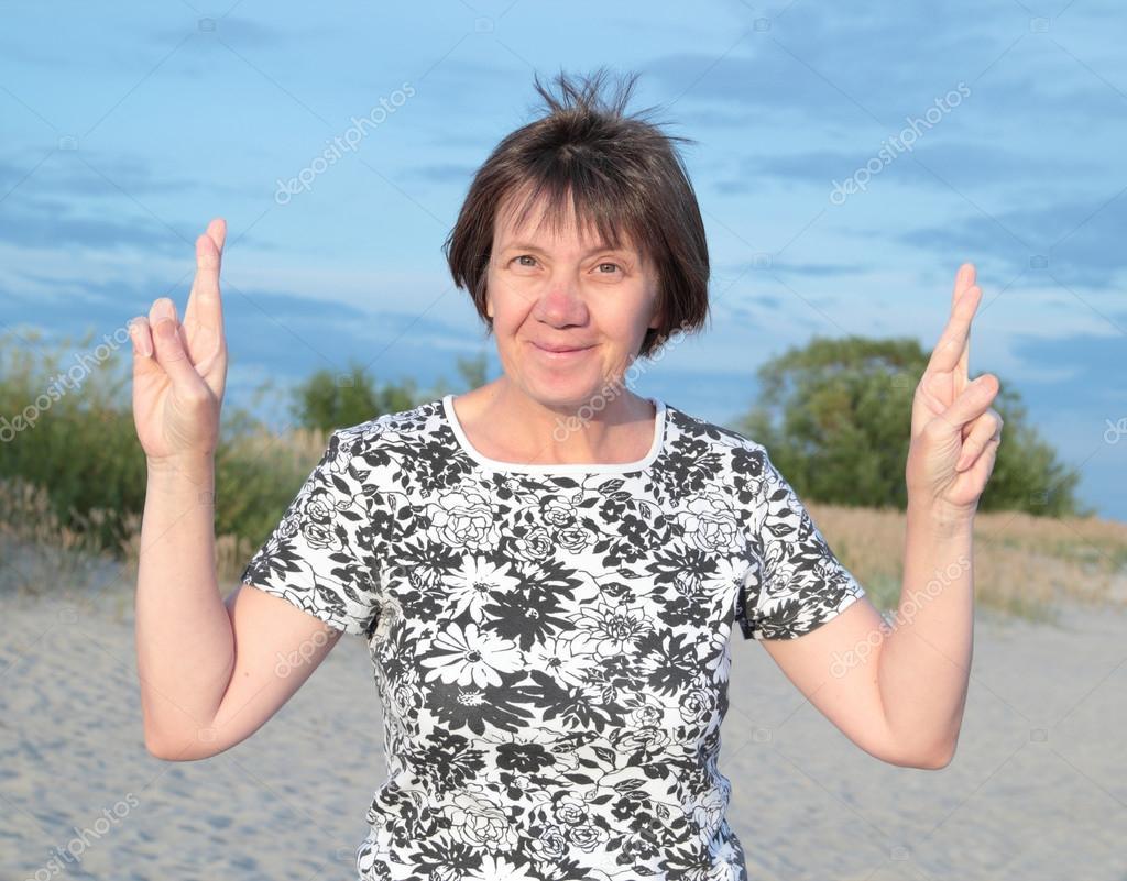 woman on beach, evening.