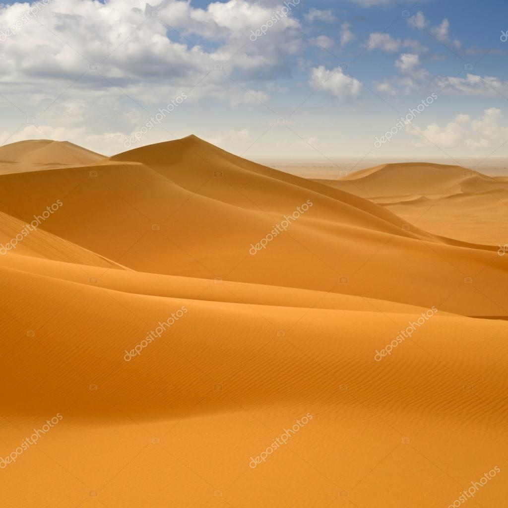 Libyan Desert. Dense gold dust, dunes and beautiful sandy