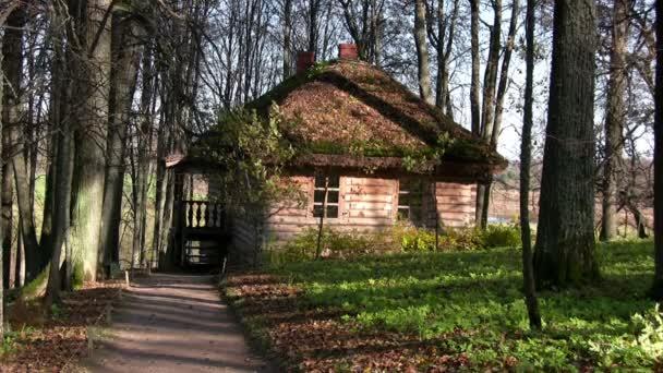 vecchia casa nella foresta dautunno