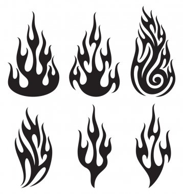 Set of vector flames