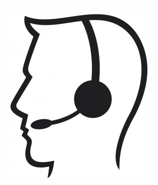Headset symbol (man headset, call center icon, face with headset, support phone operator in headset, man customer support)