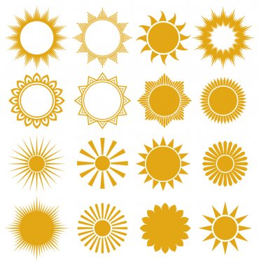Suns - elements for design (set of vector suns, suns collection) stock vector