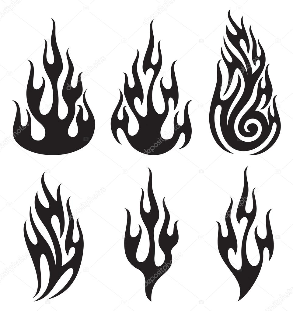 set of vector flames stock vector tribaliumivanka 12636485 rh depositphotos com vector frames and borders vector frames and borders