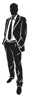 Business man in suit and tie silhouette