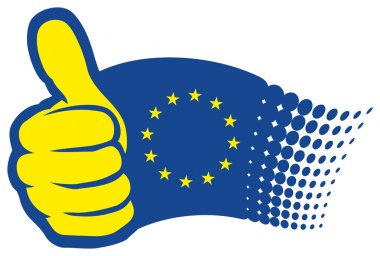 Euro flag with thumbs up